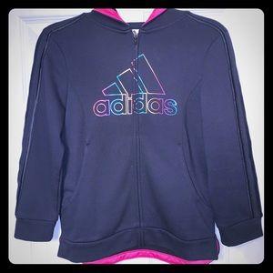 ADIDAS Girls Active Full Zip Hoodie Size L (14)
